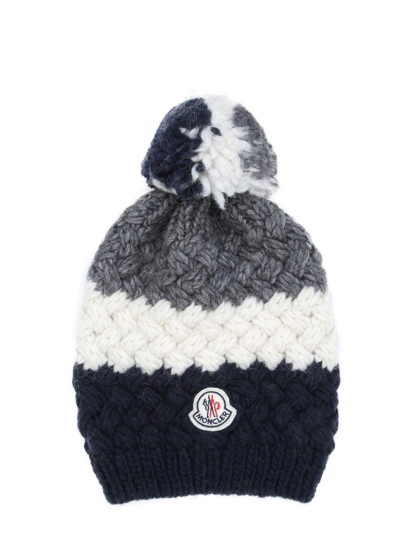 0492ee19391 Lyst - Moncler Tricolour Pom Pom Beanie Hat in Black