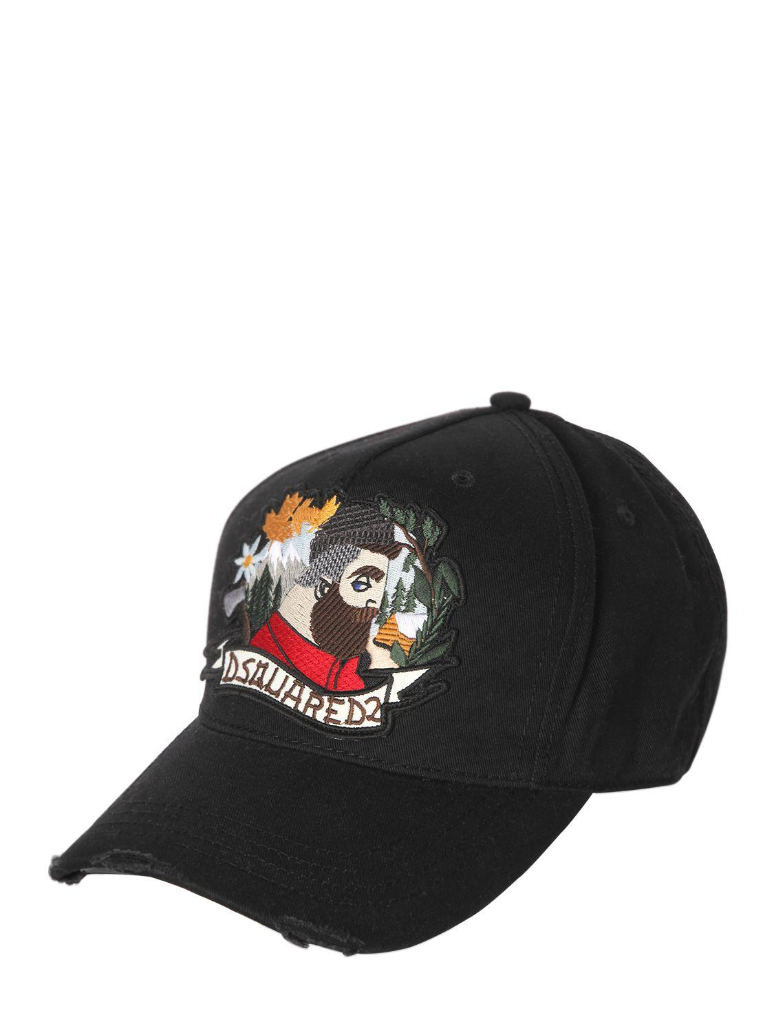 25a90fb6a62 Lyst - DSquared² Lumberjack Patch Canvas Baseball Hat in Black for Men