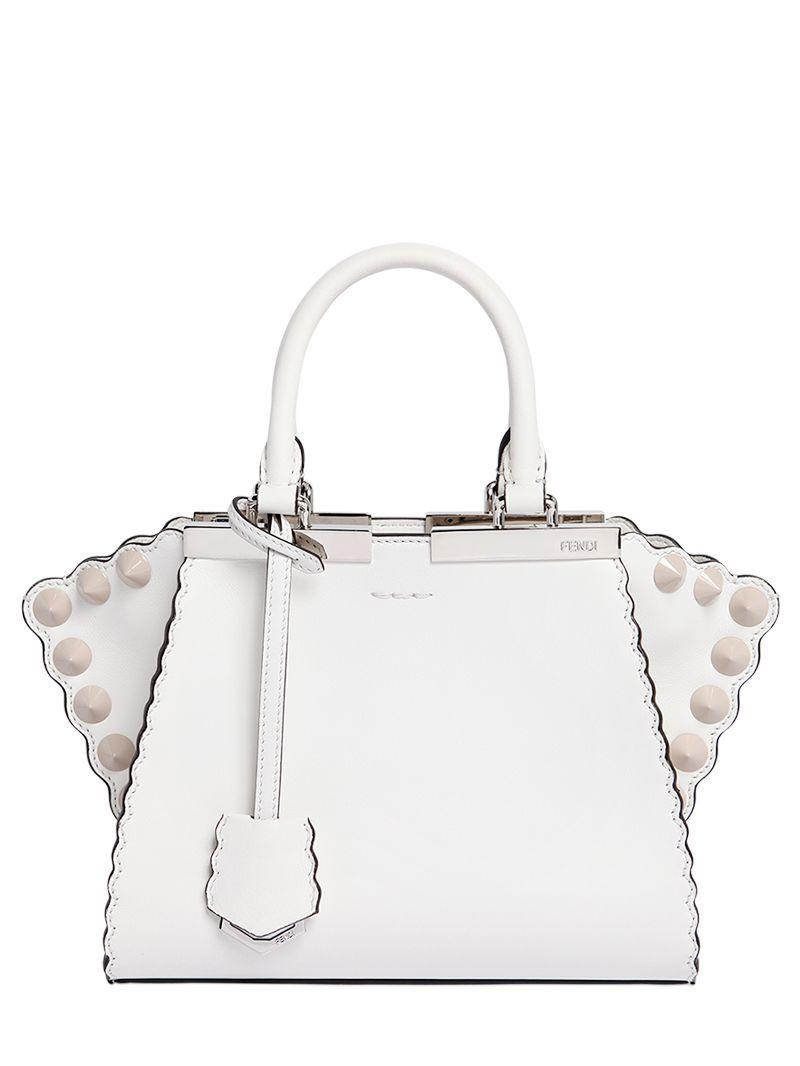 d719f338eb50 Fendi Mini 3jours Scalloped Leather Bag in White - Lyst
