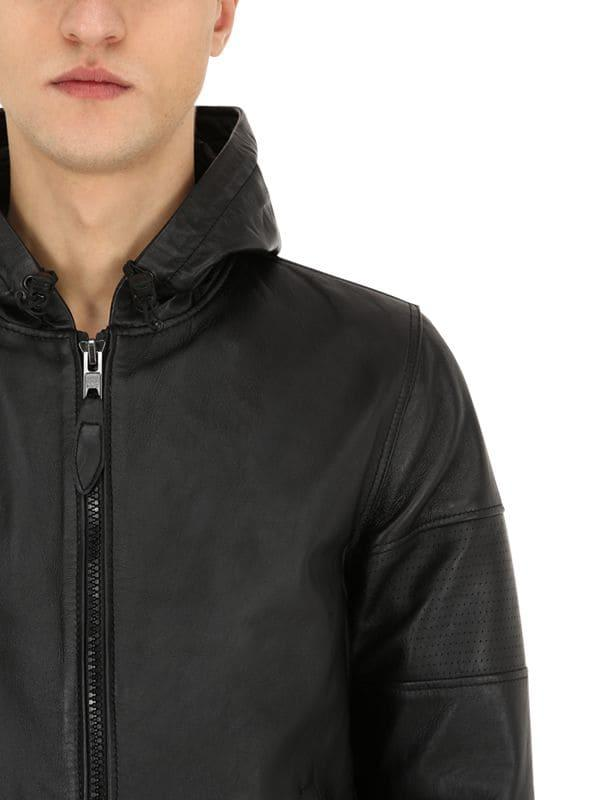 303510d69e ... Black Hooded Perforated Leather Jacket for Men - Lyst. View fullscreen