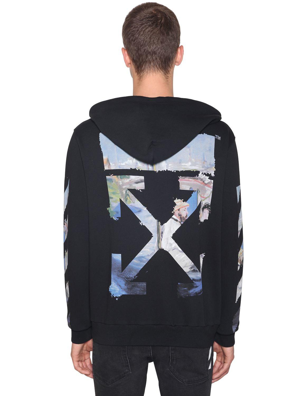 1bf4a2bff29c Off-White c o Virgil Abloh. Men s Black Printed Arrow Cotton Jersey Hoodie