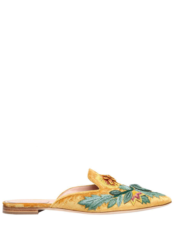 Alberta Ferretti Mia Embroidered Velvet Mules With Paypal 6miTiunHr