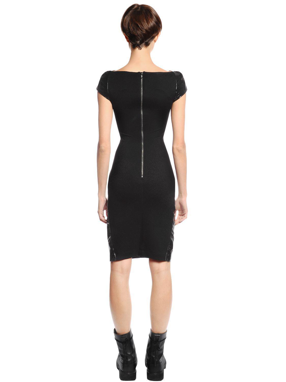 0f662cb8a3 Gareth Pugh Patent Leather   Jersey Mini Dress in Black - Lyst