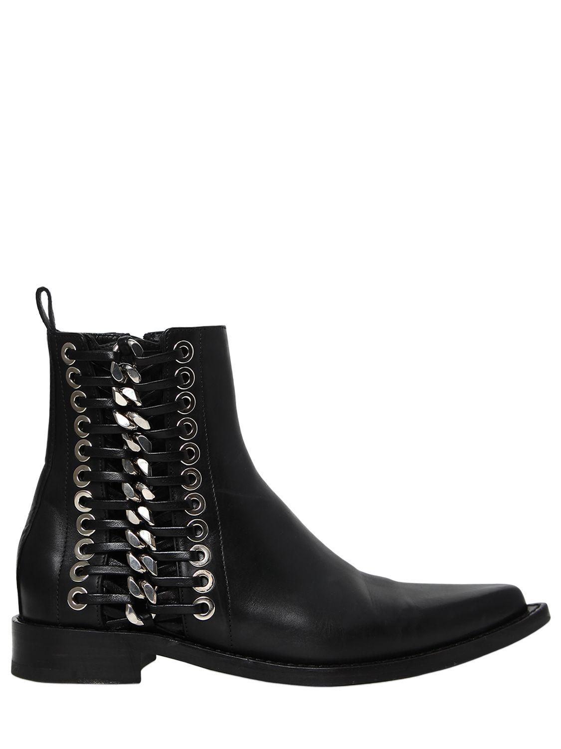 Alexander McQueen. Women's Black 20mm Braided Chain Leather Boots