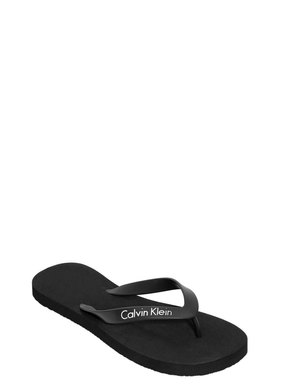 84a781c2f2a Calvin Klein Logo Rubber Flip Flops in Black for Men - Lyst