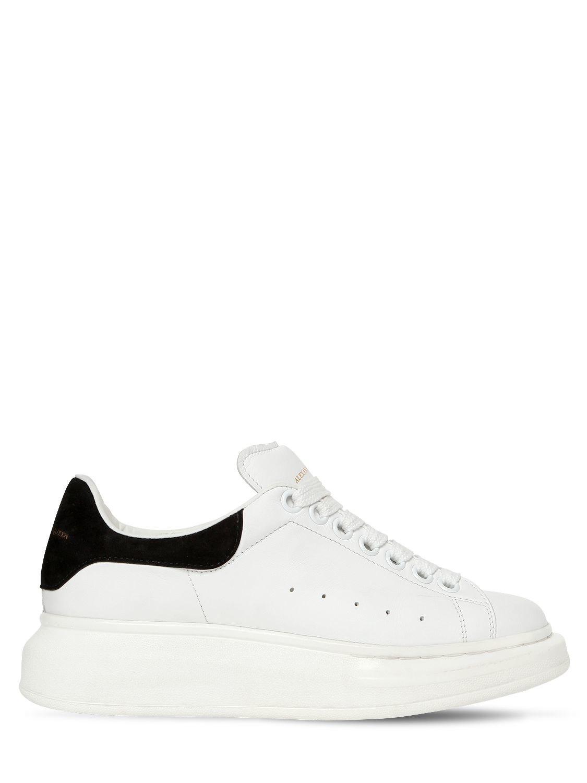Lyst - Sneakers En Cuir Et Daim 40 Mm Alexander McQueen en coloris Blanc 83888c4b341