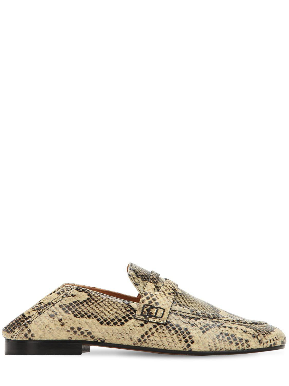 3c48277ede7 Lyst - Isabel Marant 10mm Fezzy Python Printed Penny Loafers in Natural