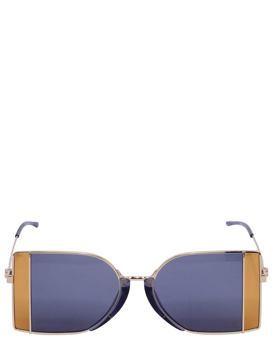 9c3eccce510 CALVIN KLEIN 205W39NYC Squared See-thru Lens Sunglasses in Blue - Lyst