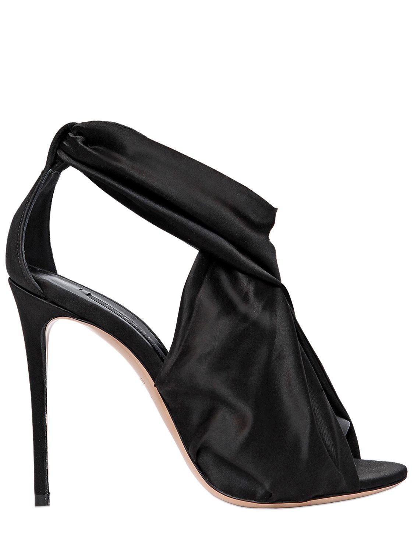 Casadei 100mm Stretch Silk Satin Sandals in Black - Lyst 1237082770c