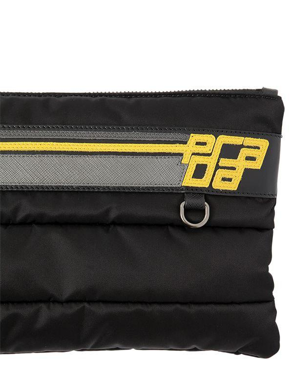 af3873b5b527 Prada Logo Patch Quilted Nylon   Leather Pouch in Black for Men - Lyst