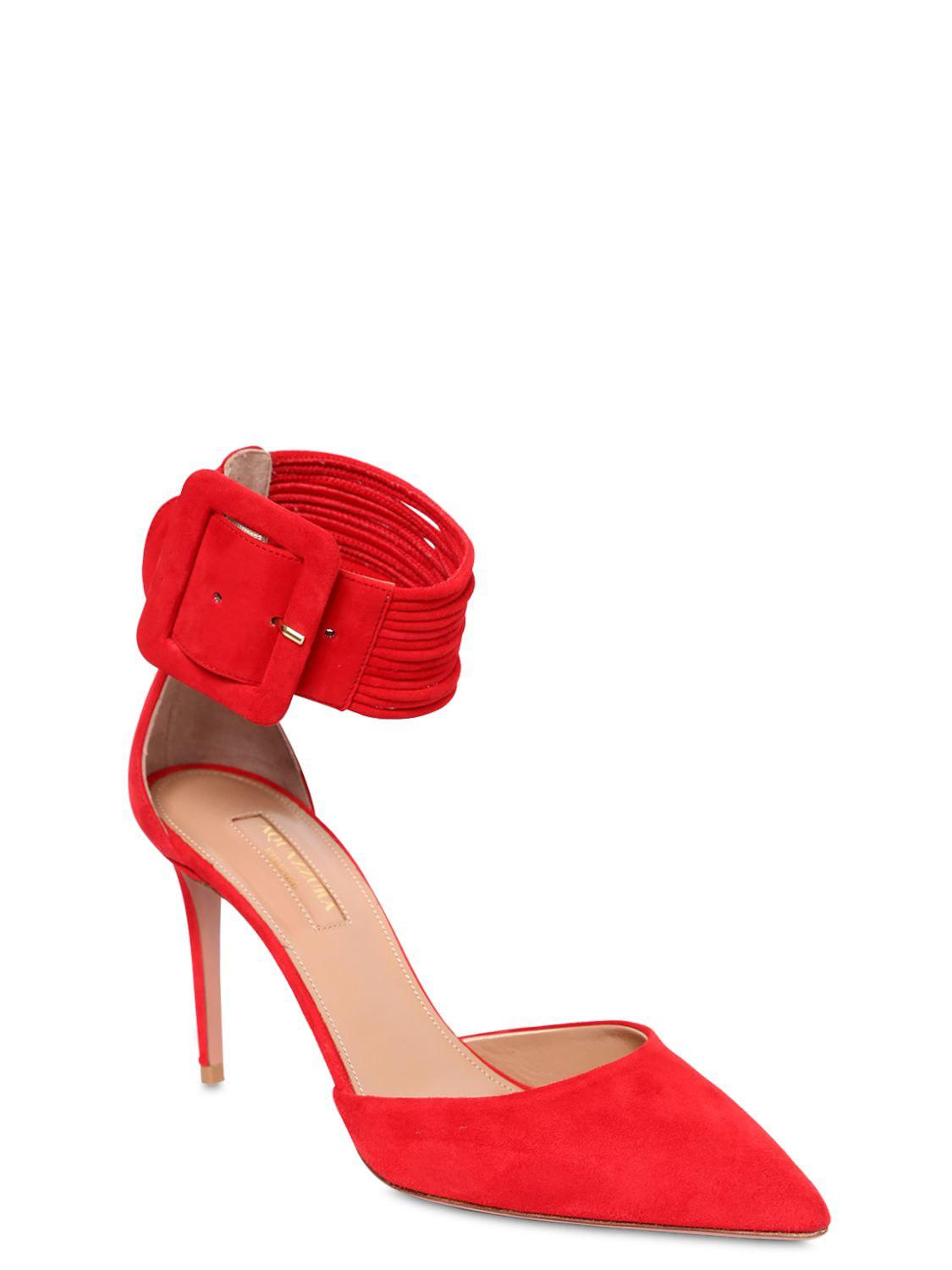 cda0ab20ac6 Aquazzura 85mm Casa Blanca Suede Pumps in Red - Save 58% - Lyst