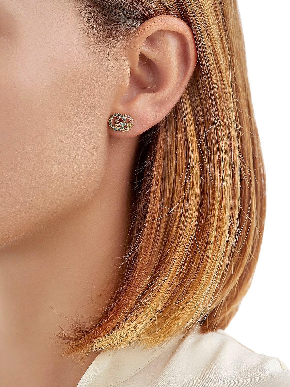 f91f617a7 Gucci Running G Stud Earrings in Metallic - Lyst