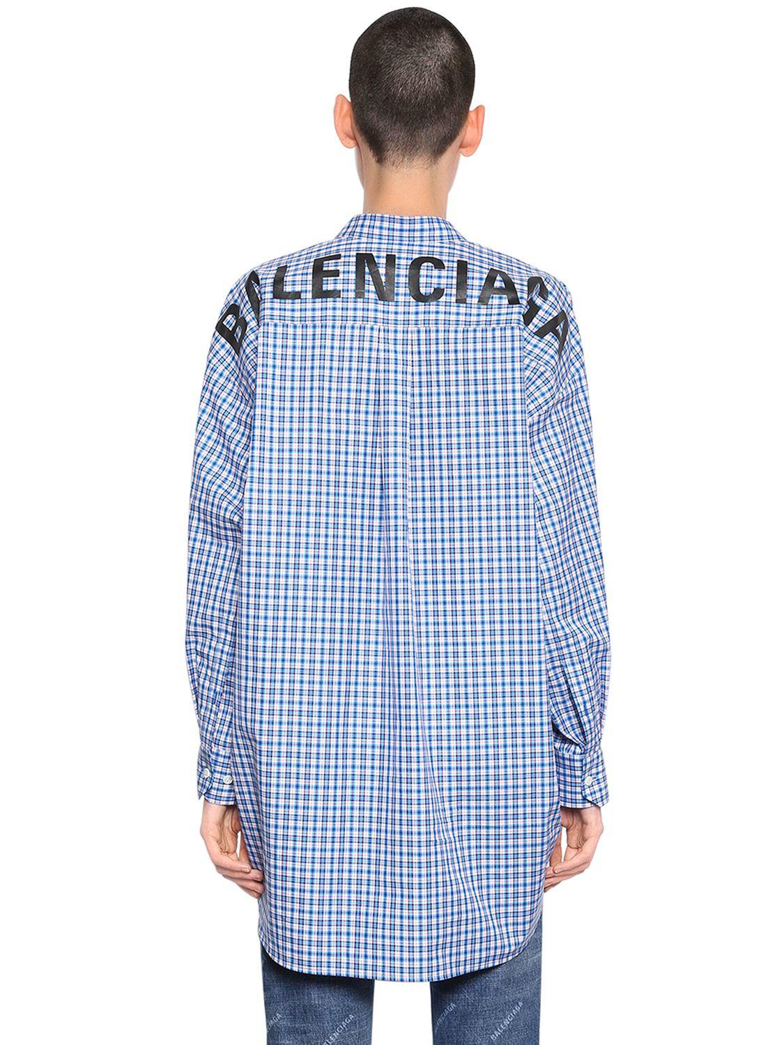 07a6102b4c59 Balenciaga Logo Printed Check Cotton Poplin Shirt in Blue - Lyst