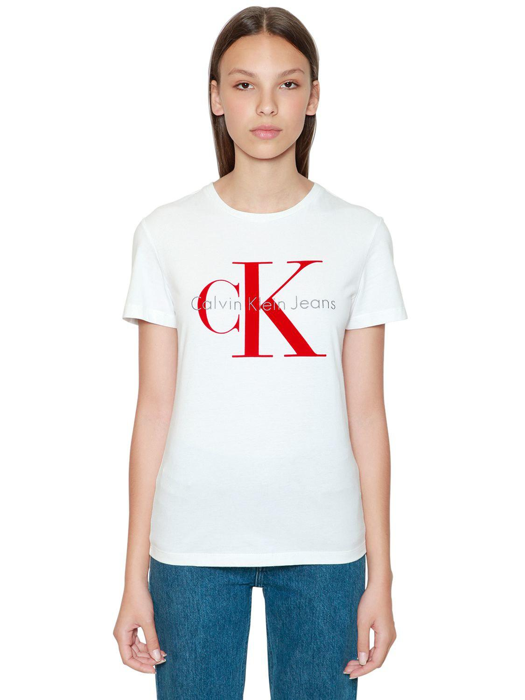 Lyst - Calvin Klein Ck Flocked Logo Cotton T-shirt in White da0ef292882