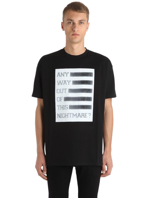 Raf Simons. Men's Black Any Way Out Print Cotton Jersey T-shirt