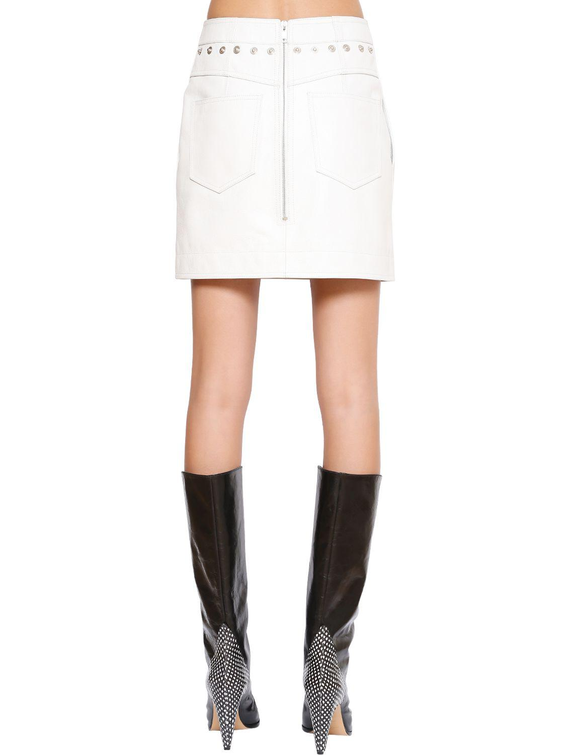 fe3267b6b06 Lyst - Givenchy High Waist Leather Mini Skirt in White