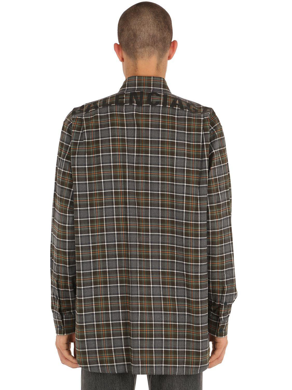 765ec1f1 Lyst - Balenciaga Logo Printed Flannel Check Shirt in Gray for Men ...