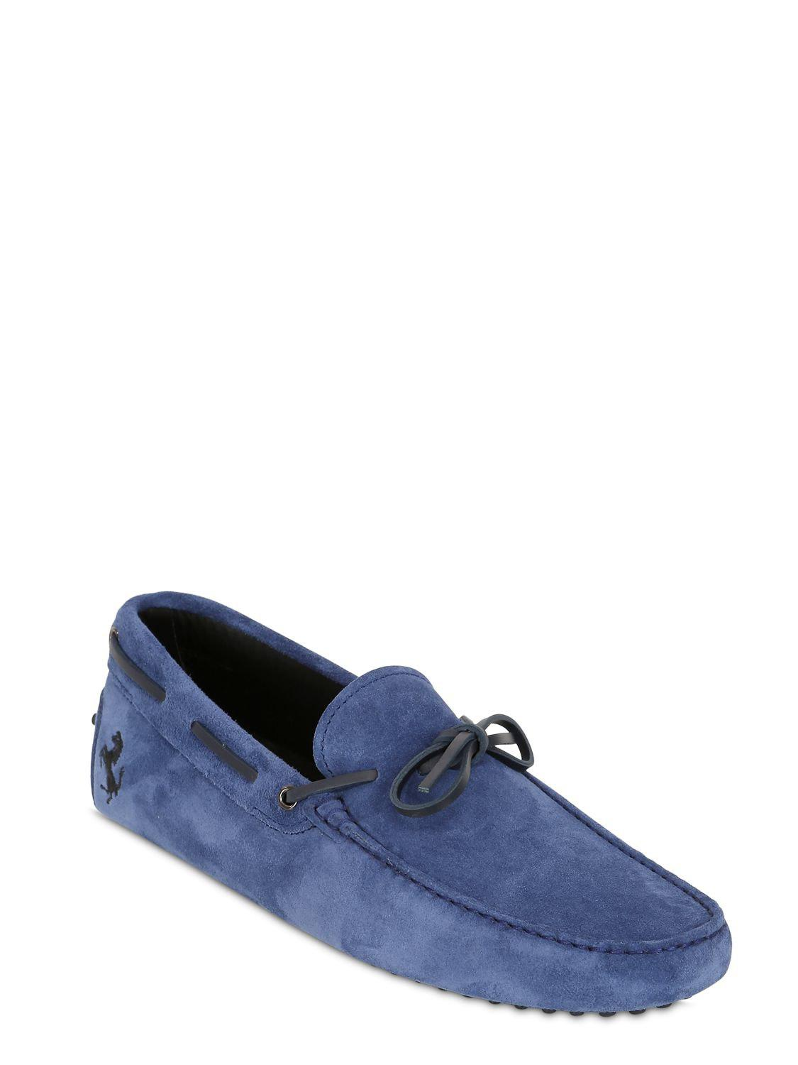 a08cd3c4792 Lyst - Tod s Gommino 122 Tie Suede Driving Shoes in Blue for Men