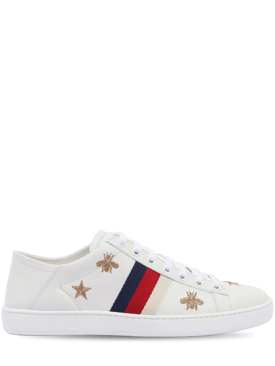 938949a0704 Gucci New Ace Embroidered Leather Mule Sneaker in White - Lyst