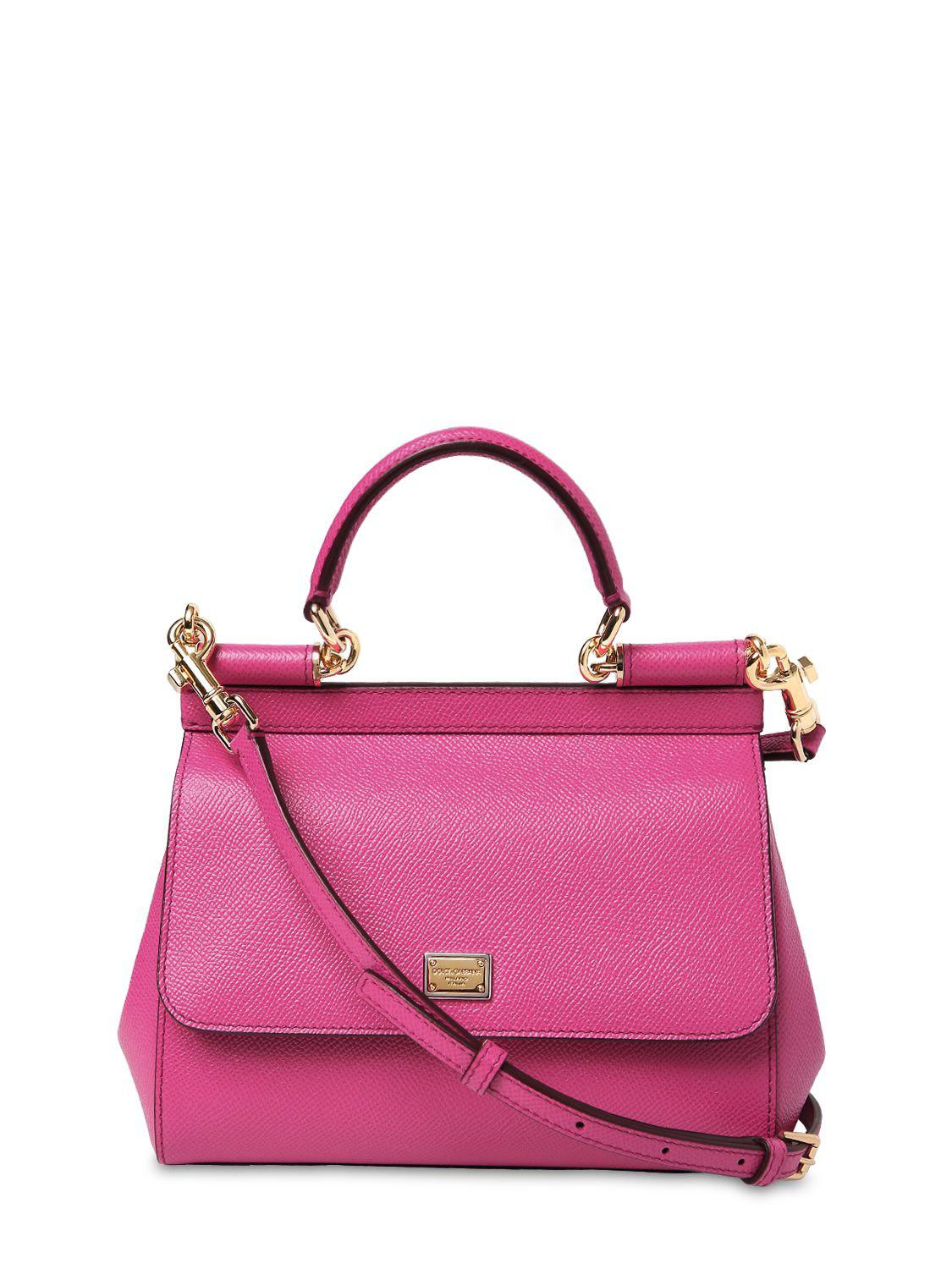 Dolce   Gabbana Small Sicily Dauphine Leather Bag in Pink - Lyst f646b40487325