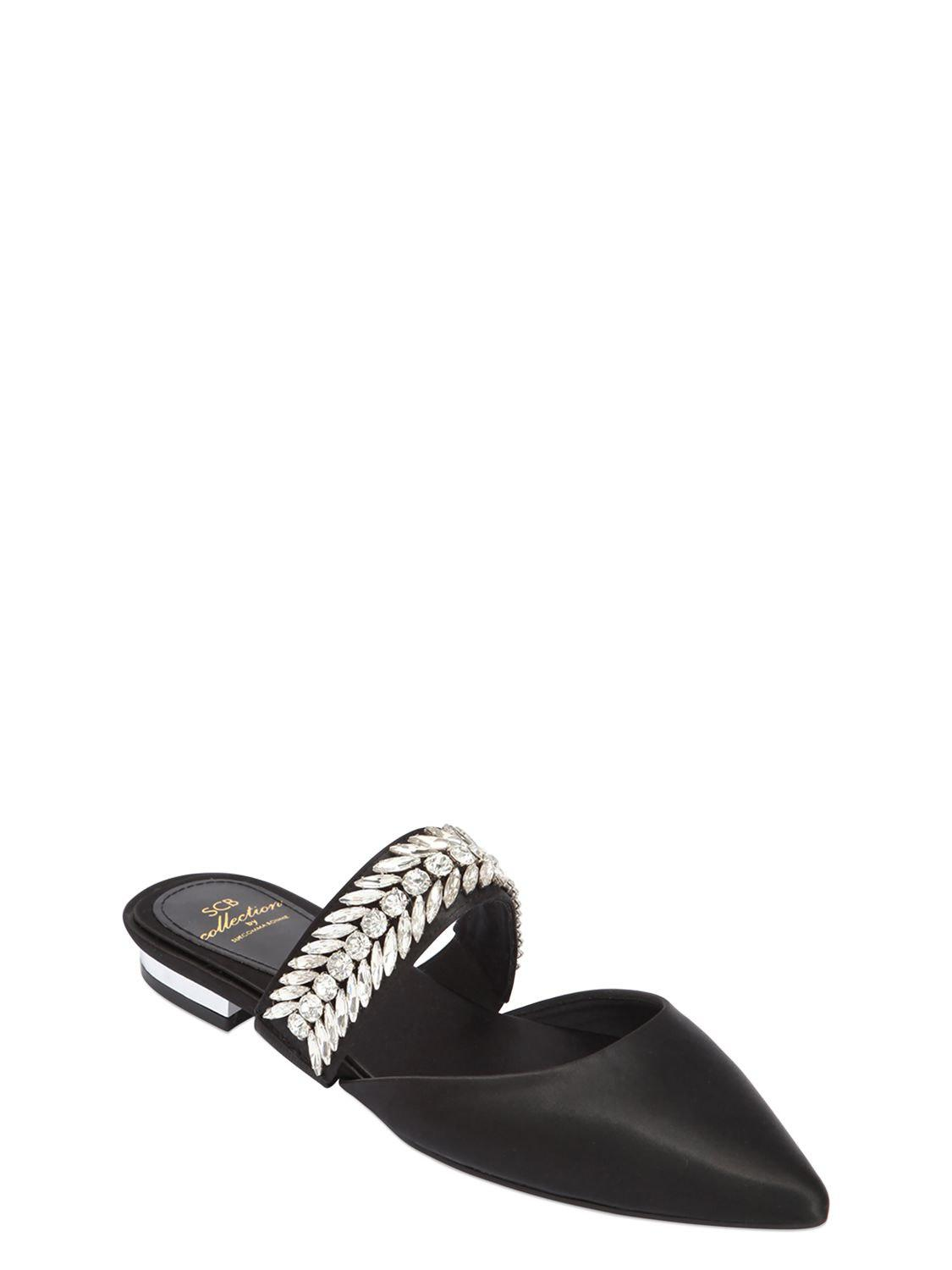 SUECOMMA BONNIE 10MM EMBELLISHED SATIN MULE FLATS