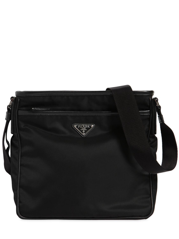 f2c189a34f ... australia prada black nylon crossbody bag w leather trim for men lyst.  view fullscreen 1c839