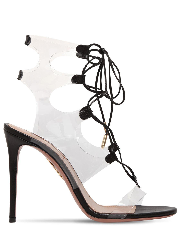 Sandals amp; 105mm Lyst In Leather Aquazzura Milos Plexi Black nBABwgaq
