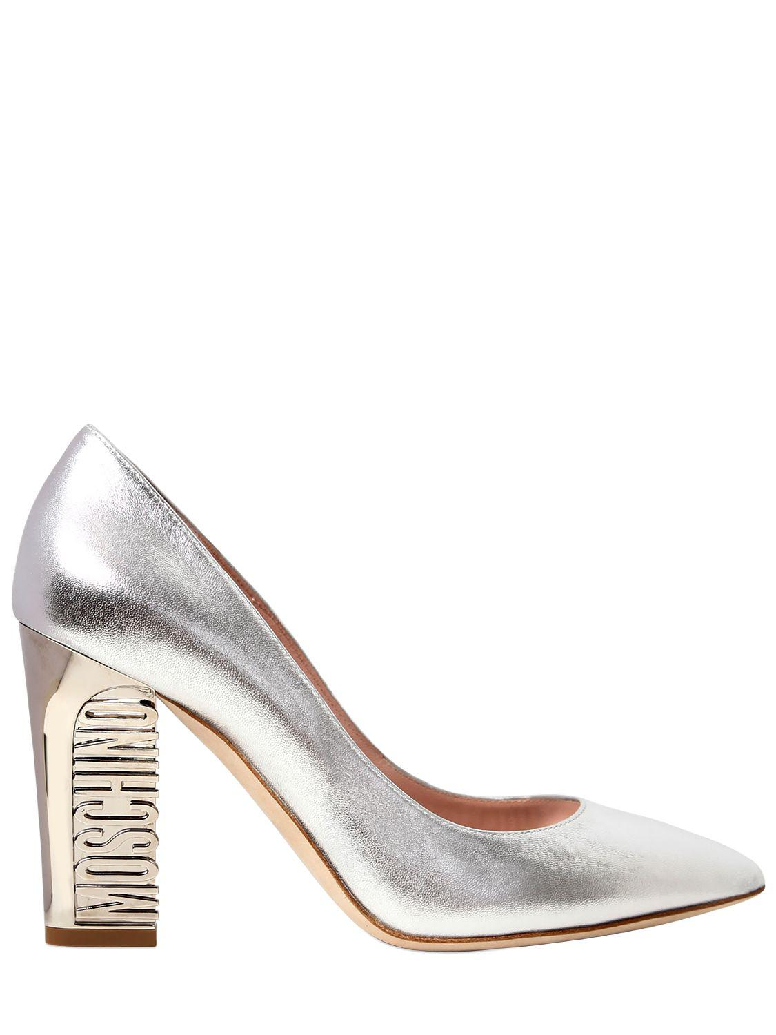 Moschino 100MM LOGO HEEL LEATHER PUMPS W4kZ1h