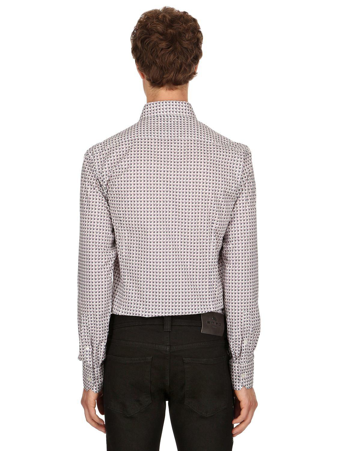 SLIM FIT 70'S PRINT STRETCH COTTON SHIRT Buy Cheap Latest Collections High Quality For Sale hR7ZyNou