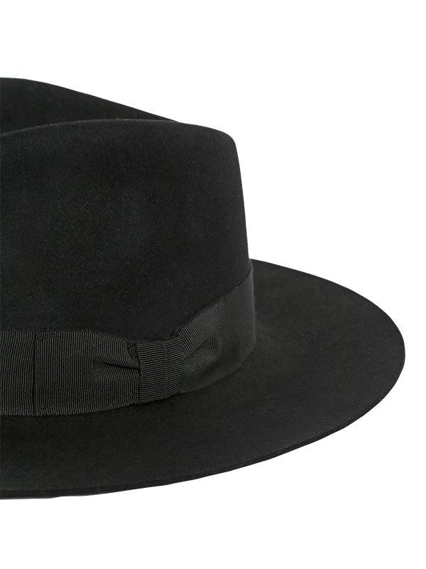 6f822256bee Lyst - Saint Laurent Lapin Fur Felt Wide Brimmed Hat in Black