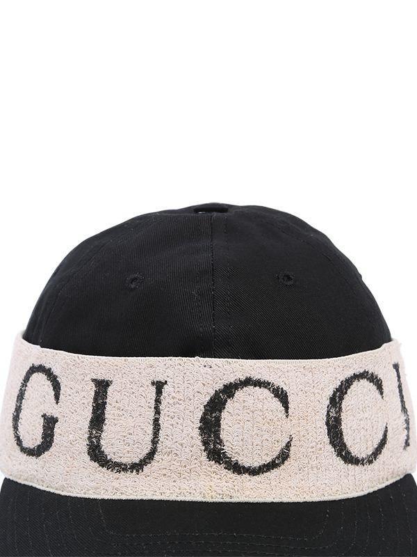 e73dc1df47a Gucci Logo Band Cotton Gabardine Baseball Hat in Black for Men - Lyst
