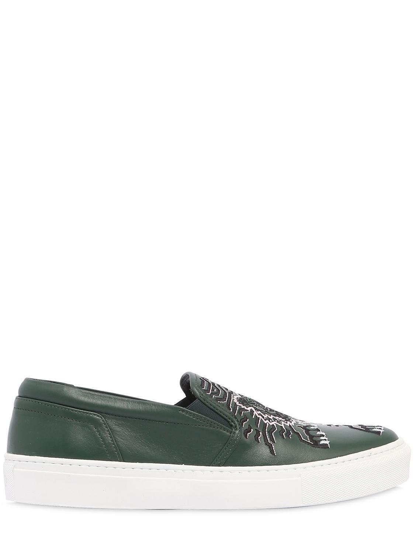 KENZO. Women's Green 20mm Geo Tiger Leather Slip-on Sneakers