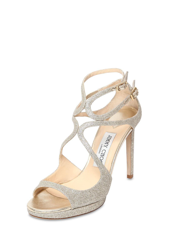 5c022a884cd Lyst - Jimmy Choo 100mm Lance Fine Glittered Sandals