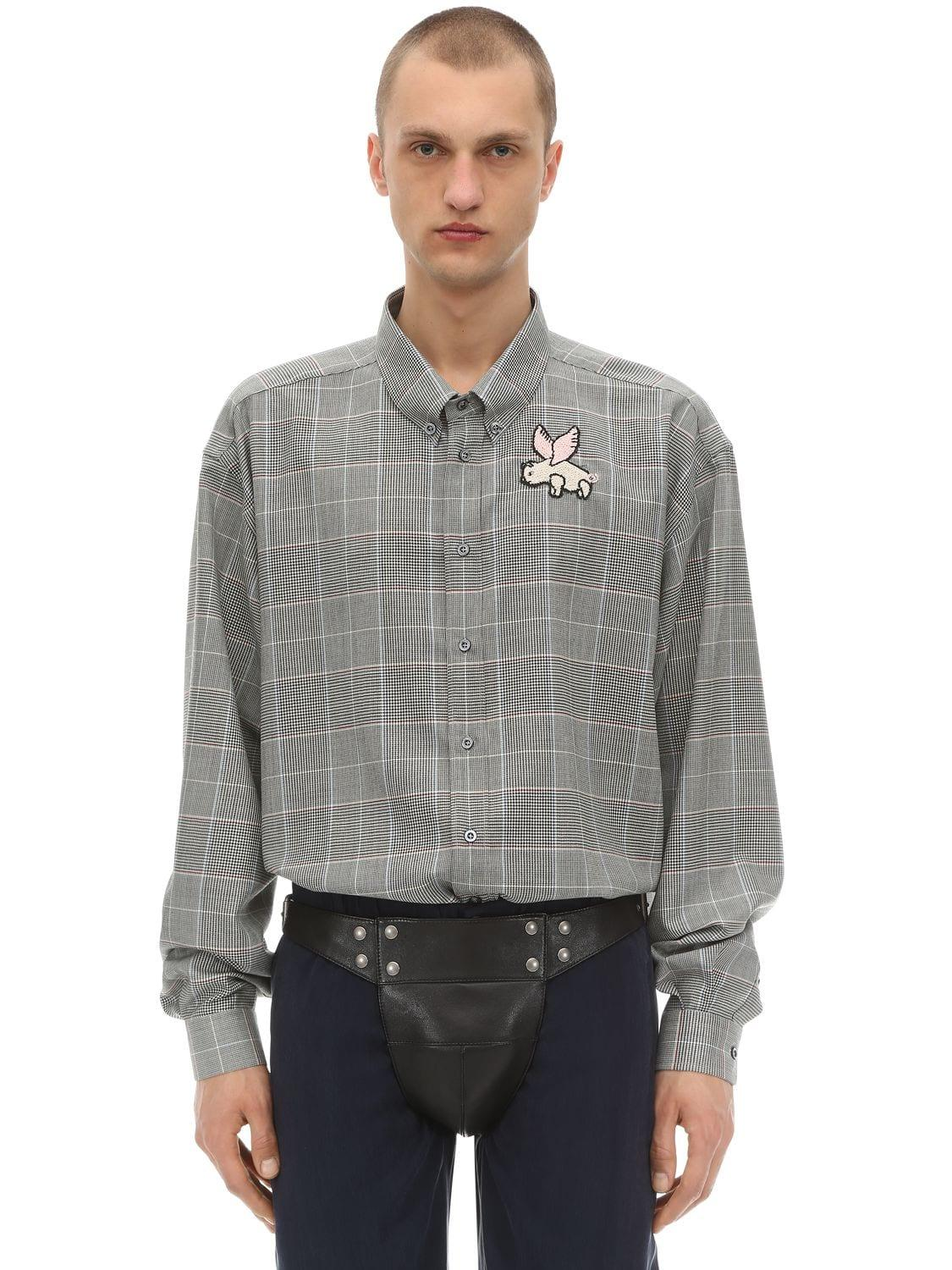 d20ac272 Gucci Oversize Wool Prince Of Wales Shirt in Gray for Men - Lyst