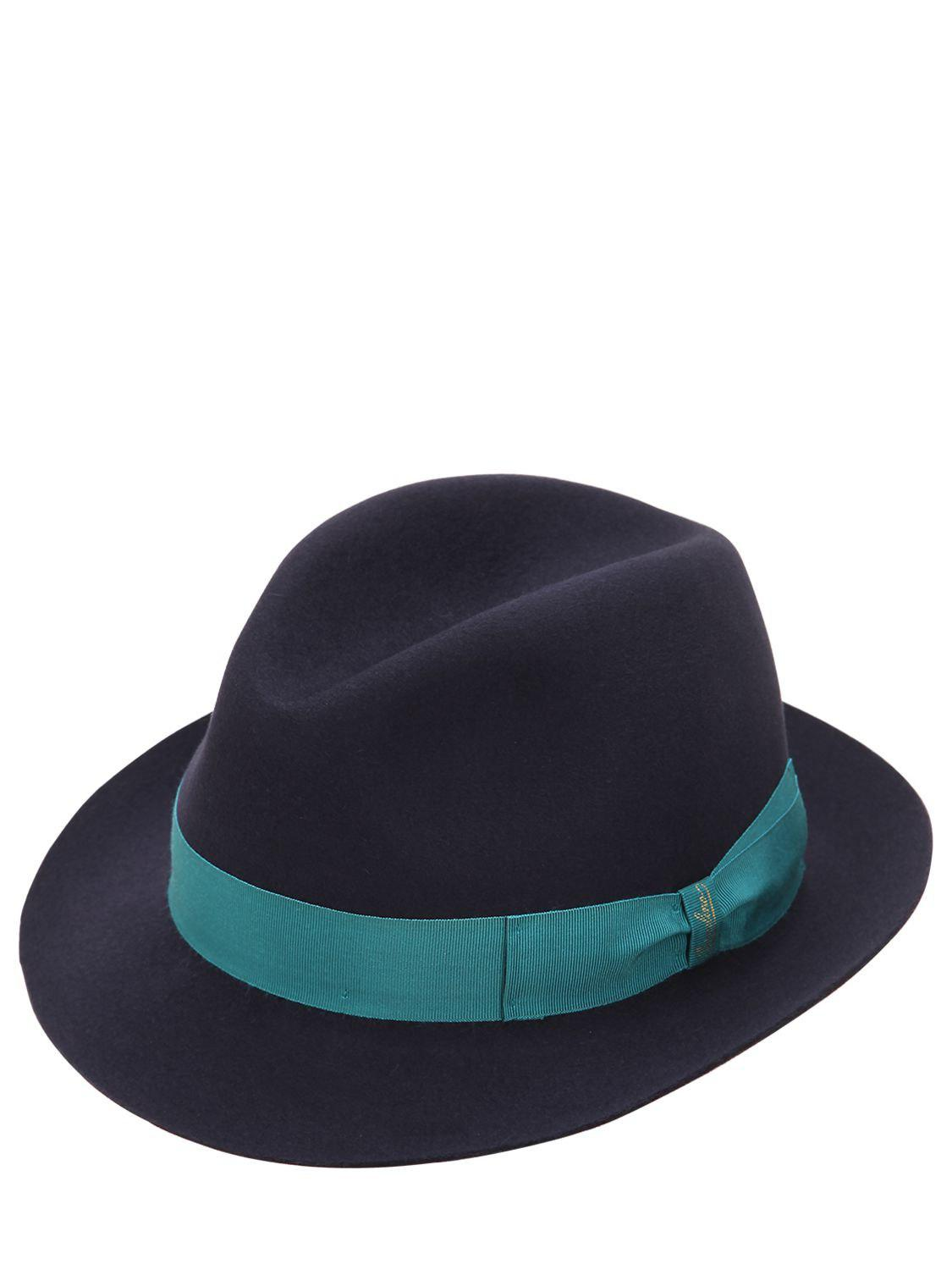 506911a96bd Borsalino Trilby Medium Brim Fur Felt Hat in Blue for Men - Lyst