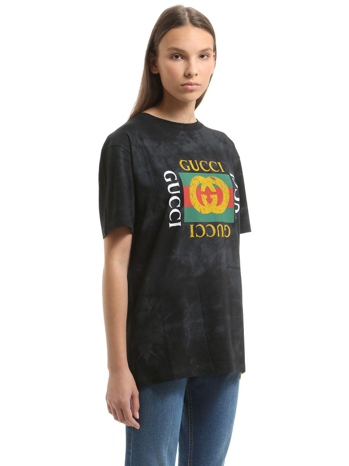 Lyst Gucci Imitation Print Cotton Jersey T Shirt In Black