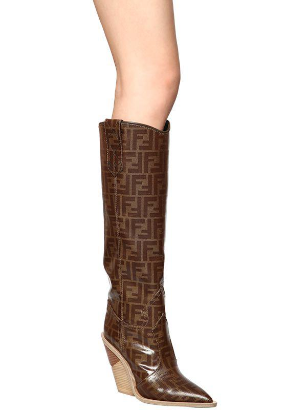 725fe9e60c0 Fendi Brown 100mm Ff Print Cowboy Tall Boots
