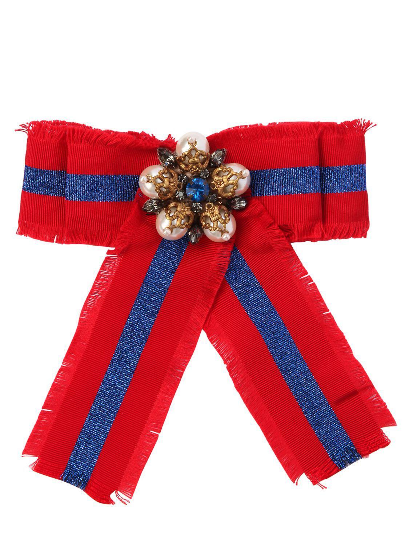 2383f4d4f78 Gucci Grograin   Lurex Bow W  Pearls in Red - Lyst