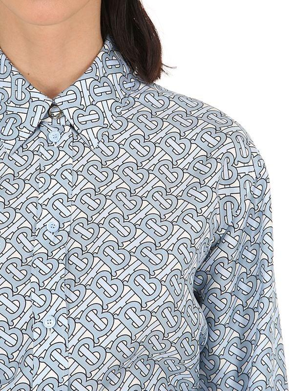 02bb06f3771795 Lyst - Burberry Monogram Print Silk Shirt in Blue
