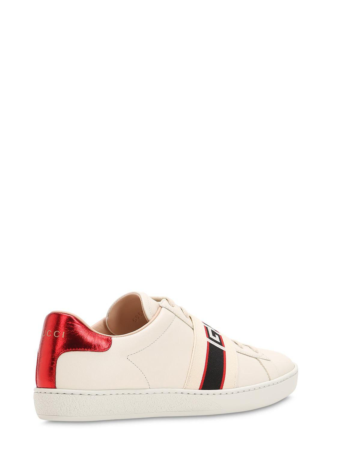 9daad530fb9 Gucci New Ace Elastic Band Leather Sneakers in White - Lyst