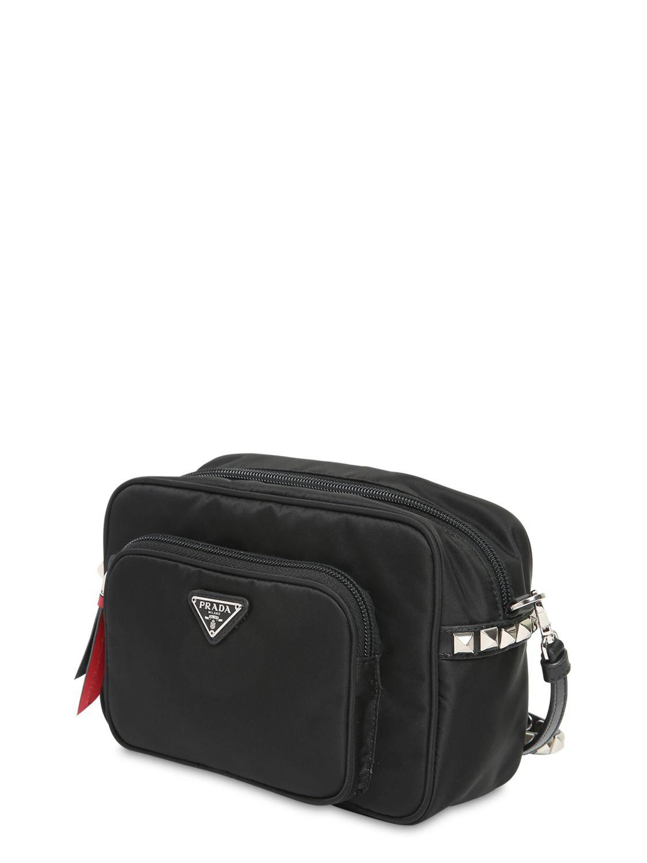Prada - Black New Vela Nylon Bucket Bag W  Studs - Lyst. View fullscreen f3a6c1db54ae3