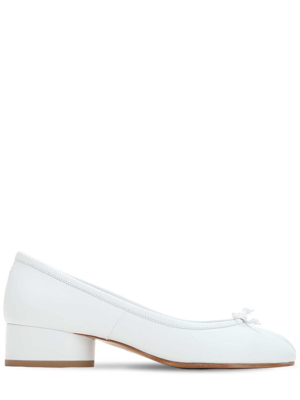 3057651c4611 Lyst - Maison Margiela 35mm Tabi Leather Pumps in White