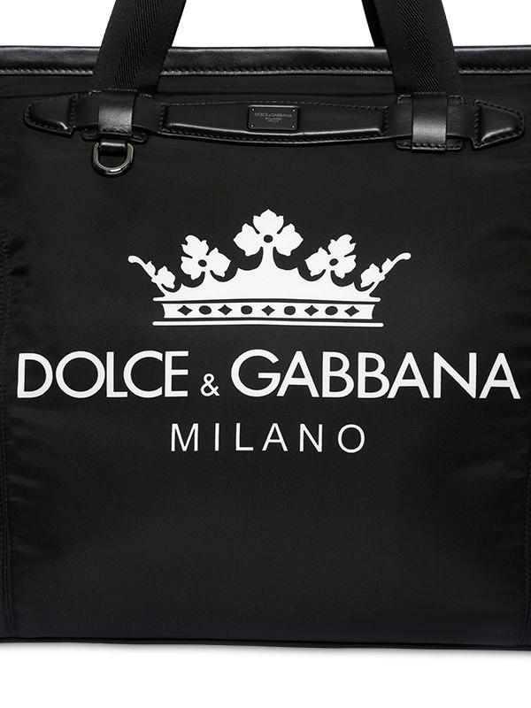 df0cfa38cd02 Dolce   Gabbana - Black Logo Printed Nylon Gym Back for Men - Lyst. View  fullscreen