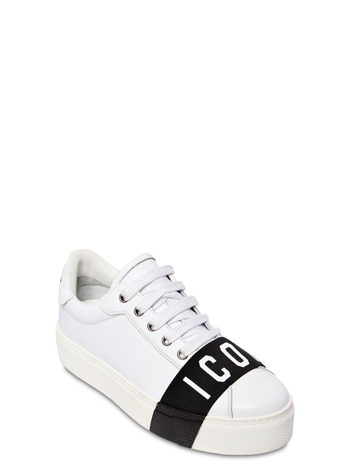 87c008b0bb9 DSquared² - White 40mm Tennis Icon Leather Sneakers - Lyst. View fullscreen
