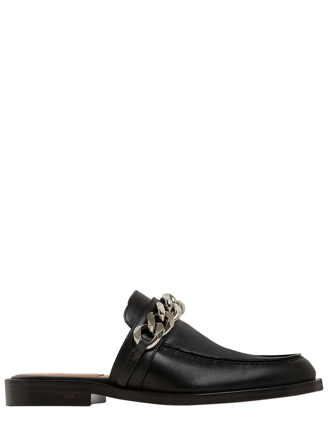 Givenchy. Women's Black 20mm Chained Leather Mules