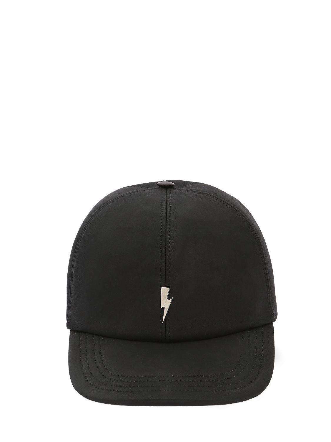 45fe675c594 Neil Barrett Bolt Leather Baseball Hat W  Embroidery in Black for ...