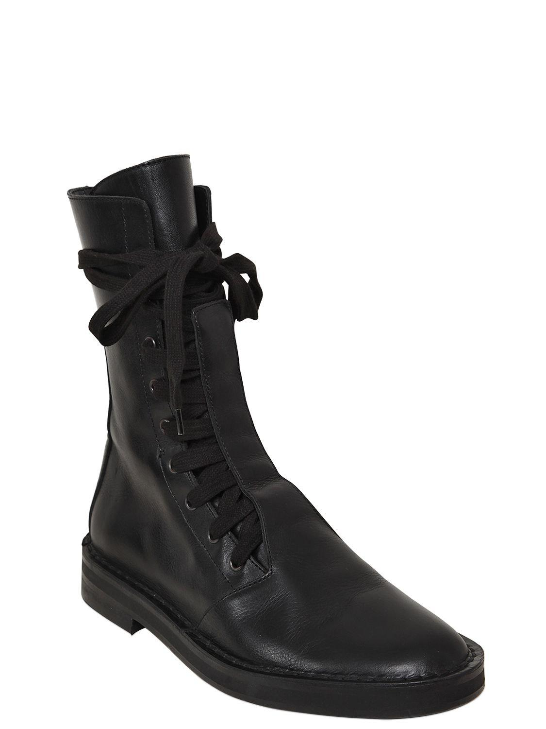 ANN DEMEULEMEESTER 20MM LEATHER COMBAT BOOTS ty32CZDl