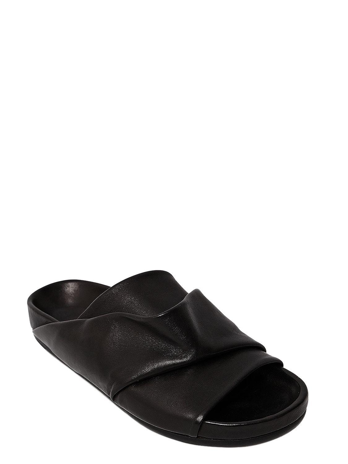Rick Owens 20MM MOBIUS LEATHER SLIDE FLATS zrZCN