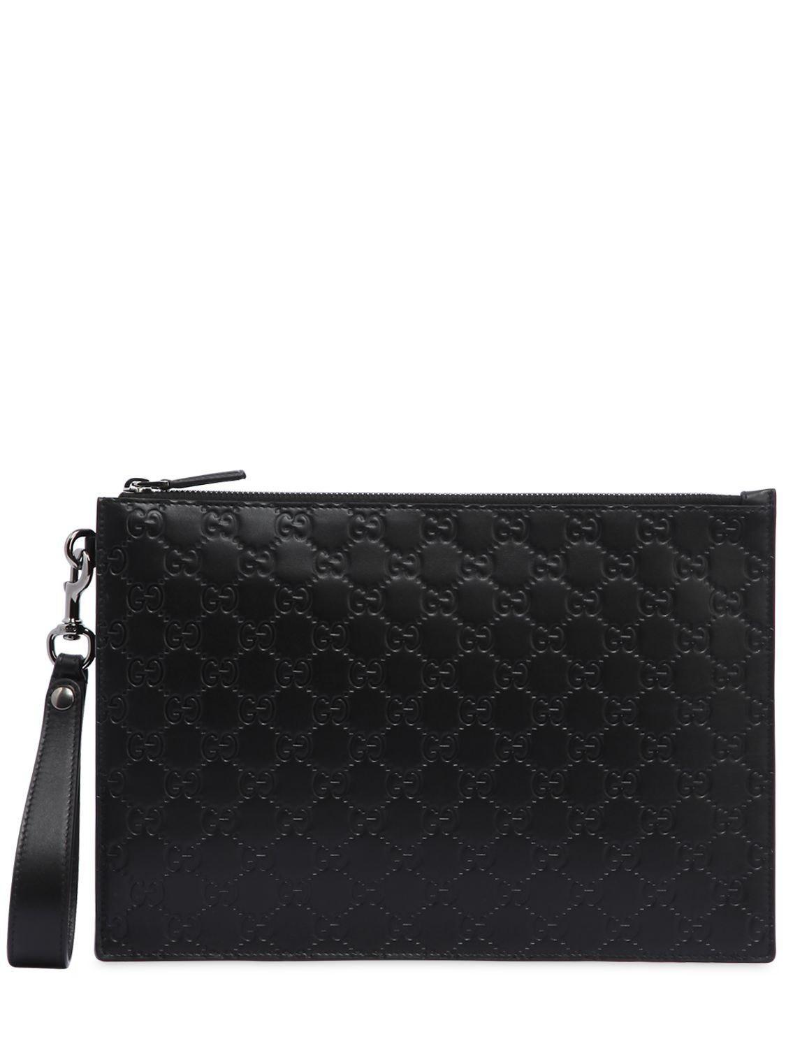 1b50532d028 Gucci Signature Gg Supreme Logo Leather Pouch in Black for Men - Lyst