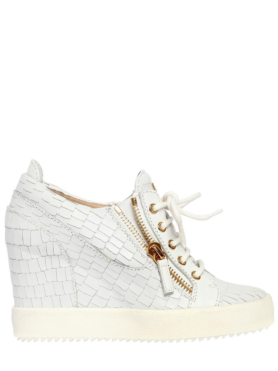 e37aa7f194d7 Giuseppe Zanotti 85mm Croc Leather Wedged Sneakers in White - Lyst